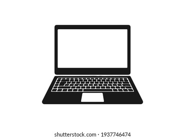 Isolated modern flat style laptop icon on a white background. Computer code for your website design, logo, application, UI. Vector illustration, EPS10.