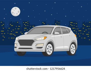 Isolated modern new suv car on the background of the night city. White car. Night city with lights. Flat vector illustration.