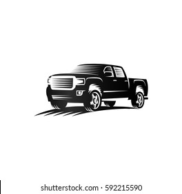 Isolated monochrome engraving style pickup trucks logo, cars logotype, black color automotive vehicle vector illustration.
