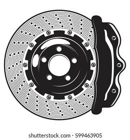 Isolated monochrome illustration of car brakes disk on white background
