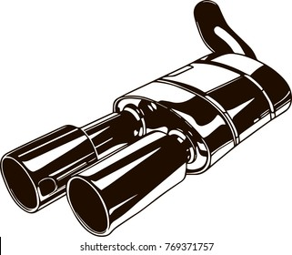 Isolated monochrome illustration of car exhaust pipe