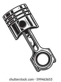 Isolated monochrome illustration of engine piston on white background