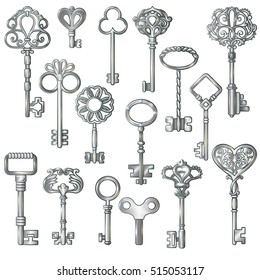 Isolated monochrome images of vintage silver door and clock keys with decorative patterns on blank background vector illustration