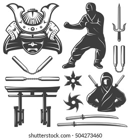 Isolated monochrome set with samurai symbols and weapons including nunchucks swords and shurikens on blank background vector illustration