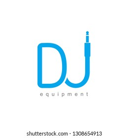 Isolated monogram Dj logo template. Blue wire cable audio jack music logotype. Musical icon on white background