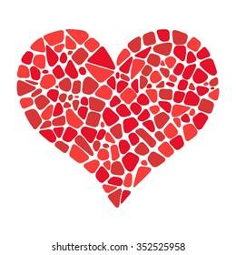 Isolated Mosaic heart vector. Design element for greeting card, invitation, poster.
