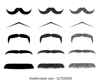 Isolated moustache illustration collection