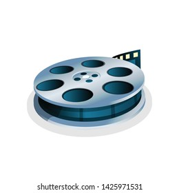 Isolated Movie Reel. Vector Film Strip. Cinema Icon.