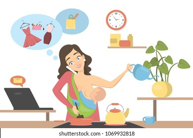 Isolated multitasking mother with baby, business and house.