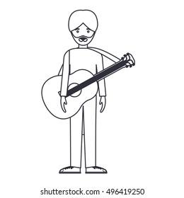 Isolated musician man cartoon design