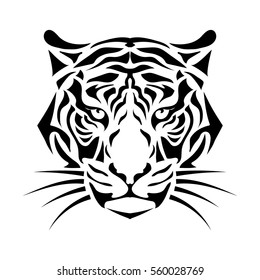 Isolated muzzle the tiger. Black and white vector.