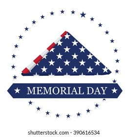 Isolated napkin with stars and a ribbon with text on a white background for memorial day