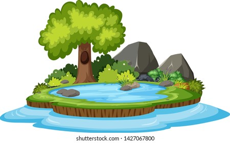 Isolated nature island on white background illustration