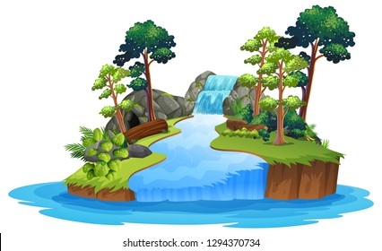 Isolated nature waterfall on white background illustration