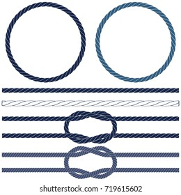 Isolated navy rope, marine knots, striped rope in blue and white