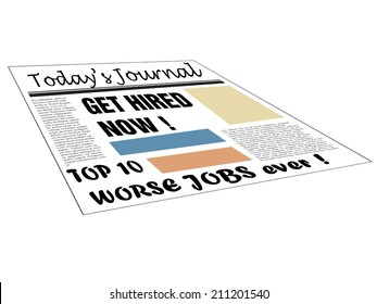 Isolated newspaper with hiring messages and the text top ten worse jobs ever written bellow with black letters