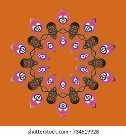 Isolated nice snowflakes on colorful background.Vector illustration. Snowflakes radial orange, gray and pink colors.