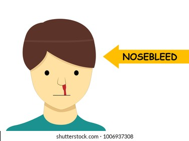 Isolated Nosebleed on man in Vector cartoon design