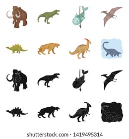 Isolated object of animal and character icon. Set of animal and ancient  vector icon for stock.
