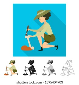 Isolated object of archaeologist  and girl sign. Set of archaeologist  and pit vector icon for stock.