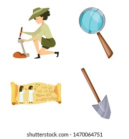 Isolated object of archaeology and historical symbol. Collection of archaeology and excavation vector icon for stock.