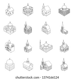Isolated object of architecture and building icon. Set of architecture and clergy vector icon for stock.