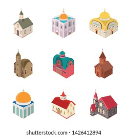 Isolated object of architecture and building logo. Collection of architecture and clergy stock vector illustration.