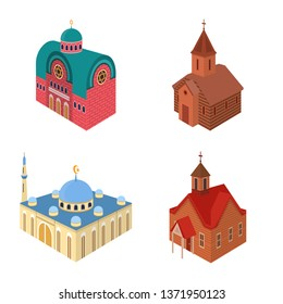 Isolated object of architecture and building sign. Collection of architecture and clergy stock symbol for web.