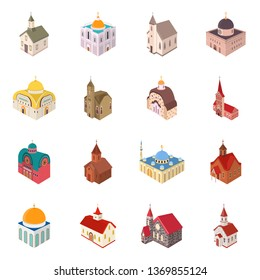 Isolated object of architecture and building symbol. Collection of architecture and clergy vector icon for stock.