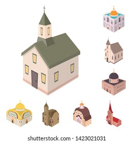 Isolated object of architecture and building symbol. Set of architecture and clergy vector icon for stock.