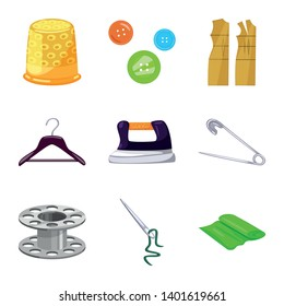 Isolated object of atelier and sewing logo. Collection of atelier and tailoring stock vector illustration.