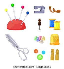 Isolated object of atelier and sewing sign. Collection of atelier and tailoring vector icon for stock.