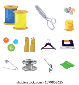 Isolated object of atelier and sewing sign. Set of atelier and tailoring stock vector illustration.