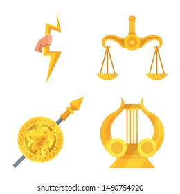 Isolated object of attributes and greek logo. Set of attributes and god vector icon for stock.