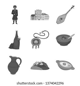 Isolated object of attributes and tourism logo. Collection of attributes and national vector icon for stock.