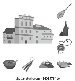 Isolated object of attributes and tourism symbol. Collection of attributes and national vector icon for stock.