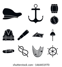 Isolated object of attributes and vintage sign. Collection of attributes and sea stock vector illustration.