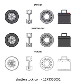 Isolated object of auto and part symbol. Collection of auto and car vector icon for stock.
