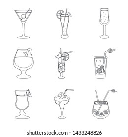 Isolated object of beverage and ice symbol. Collection of beverage and shaker stock vector illustration.