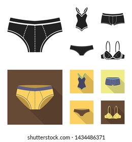 Isolated object of bikini and fashion symbol. Collection of bikini and swimsuit vector icon for stock.