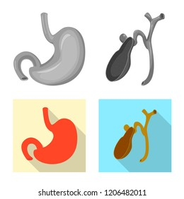 Isolated object of body and human logo. Set of body and medical vector icon for stock.