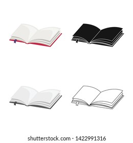 Isolated object of book  and open symbol. Collection of book  and bookmark  stock symbol for web.