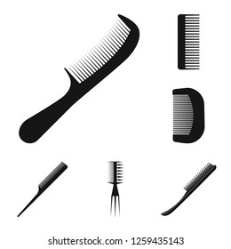 Isolated object of brush and hair logo. Collection of brush and hairbrush stock symbol for web.