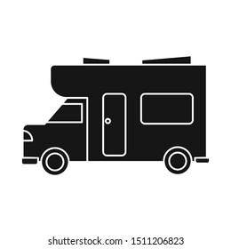 Isolated object of bus and motorhome logo. Graphic of bus and vintage stock vector illustration.