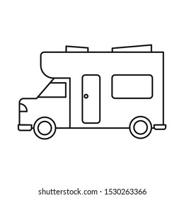 Isolated object of bus and motorhome sign. Graphic of bus and vintage stock vector illustration.