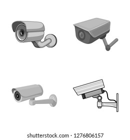 Isolated object of camcorder and camera symbol. Collection of camcorder and dashboard stock vector illustration.