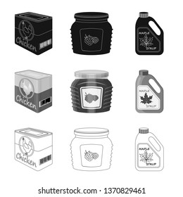 Isolated object of can and food sign. Set of can and package vector icon for stock.