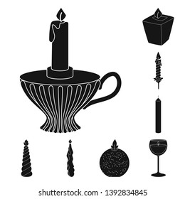Isolated object of candlelight and decoration   icon. Collection of candlelight and wax stock symbol for web.