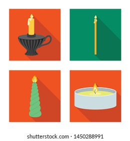 Isolated object of candlelight and decoration logo. Collection of candlelight and flame stock symbol for web.