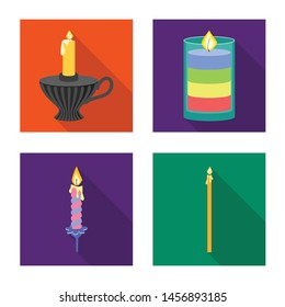 Isolated object of candlelight and decoration logo. Collection of candlelight and flame stock vector illustration.
